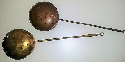 2 Vintage Antique Brass & Copper Bed Warmers /Chestnut Roasters/ Fireplace Decor