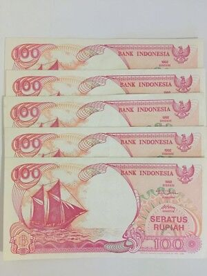 Five Consecutive 100 Rupiah Indonesian banknotes(free Postage)