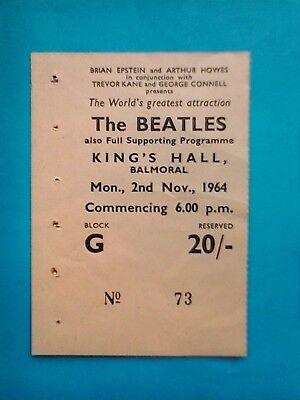 Orig BEATLES CONCERT TICKET, Kings Hall, Belfast, November 1964