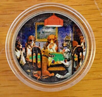 The Card Playing Dogs- Familiar Painting- on Kennedy Half Dollar with COA