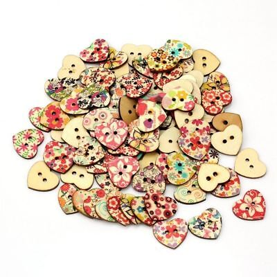 AKORD Mixed Printed Flower Heart Shape Wooden Sewing Buttons, Wood, Multi-Colour
