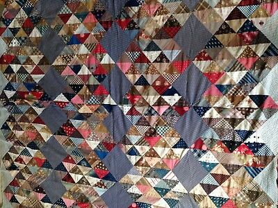 Beautiful Early Cotton Pieced Quilt Top!