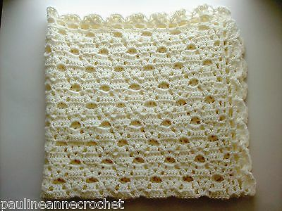 Crocheted Lacy Baby Blanket, Winter White Afghan, Coverlet, PaulineAnneCrochet