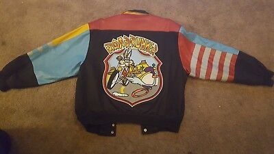 Vintage XL Jeff Hamilton Looney Tunes Roadrunner and Wile E Coyote Jacket