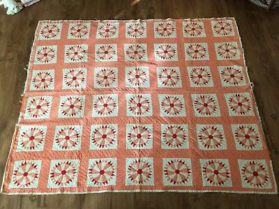 Antique Hand Stitched Rosette Compass Quilt Salmon Red 82 x 68 ca 1900-1930 AAFA