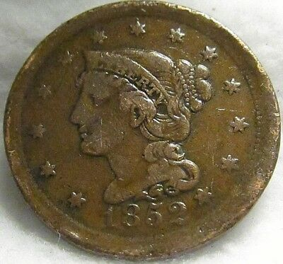 1852 US 1C Braided Hair Large Cent ~ Great Shape