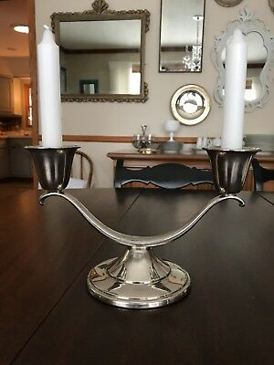 "2 ARM CANDELABRA CANDLE HOLDER 9""W x  5.5""H marked Keystonwear Silverplated"