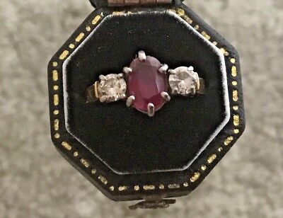 Natural Ruby and two diamond ring with Valuation Cerificate $4000 (2014)