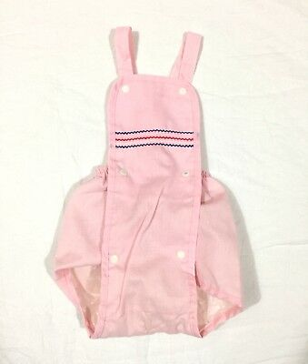 Vintage Baby Girl Lilly Kids Pink Stripe Bubble Romper Plastic Lined Sz 12 Month