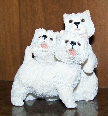 3  West Highland Terriers Figurine