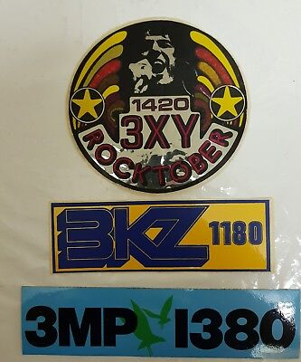 LoT of 3 MELBOURNE RADIO STATION STICKERS / DECALS - UNUSED.