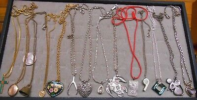 Vintage Lot Of 14 Pendant Necklaces,trifari,emmons,act 2,avon