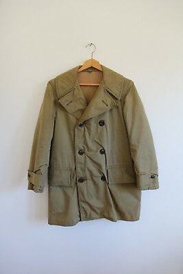VTG 40S 50S WWII Button Military Jeep Coat US Army Jacket Peacoat Medium