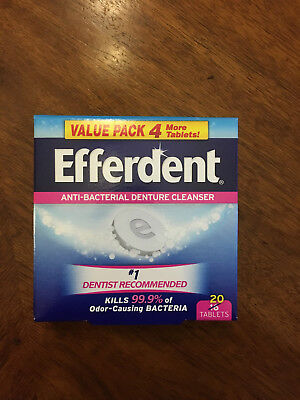 Efferdent Denture Cleanser Dentist Recommended clean odor 20 tablets made USA