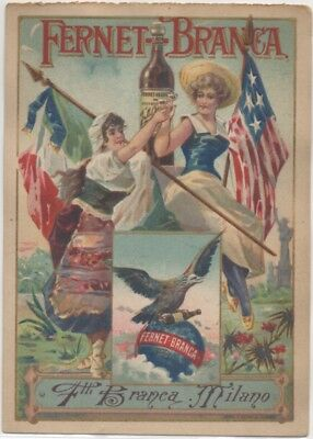 Italy meets USA Flag Fernet Branca Quack Med Trade Card c1883