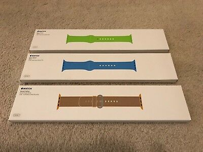 Lot of 3 Apple Watch Bands 38mm Sport Band Green, Blue and Woven Nylon Gold/Blue