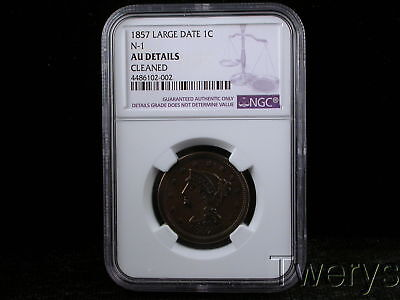 1857 Liberty Head Large Cent Large Date N-1 Ngc Au Details