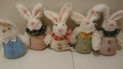 "Gerson Mission Gallery 6"" tall Plush Easter bunnies Burlap rabbit set of 5 lot A"
