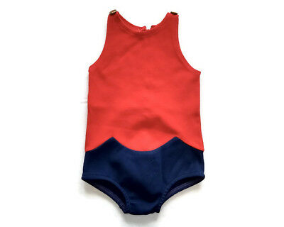Bathing Suit Girls Red Blue One Piece Vintage No Size Tag See Measurements