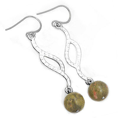 Genuine Unakite Gemstone Mordern Jewelry 925 Sterling Silver Earring qo82330