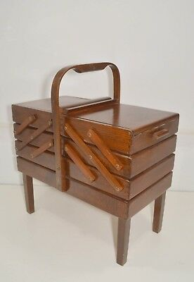 Vintage Large Solid Wood Sewing Box Basket Fold Out Accordion Romania