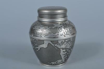 K1967:Japanese XF Tin Pine Flower sculpture TEA CADDY Container, Suzuhan made