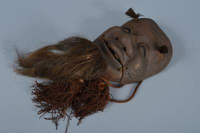 K2067: Japanese Iron Okina sculpture MASK Noh mask Kyogen Ornaments Display