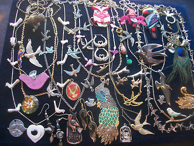 Lot Of Vintage/now Costume Jewelry All Bird Pieces  Variety