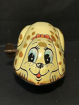 Sweet Vintage YONE Wind Up Tin Toy PUPPY DOG No 2114 Made in Japan 1960s