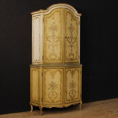 Cupboard lacquered furniture double body italian wooden golden antique style 900