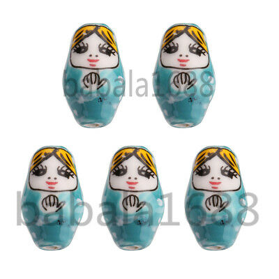5Pcs Blue Painted 1 inch Porcelain Russian Matrioshka Nesting Doll Beads 22mm