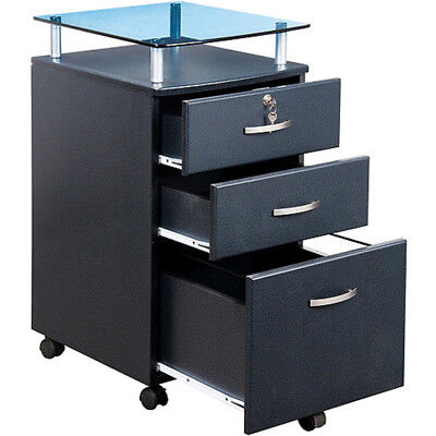 Rolling File Cabinet Office Furniture Home Wood Lock Transitional Room Graphite