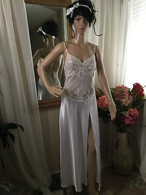Vtg Frederick's Of Hollywood Bridal Sexy Long Nightgown White Color Size (M)