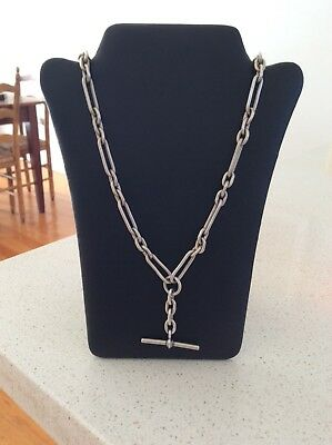 Impressive Sterling Silver Fob Albert Watch Chain with T bar