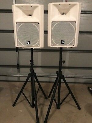 2 x EV Sx100 White Speakers with stands
