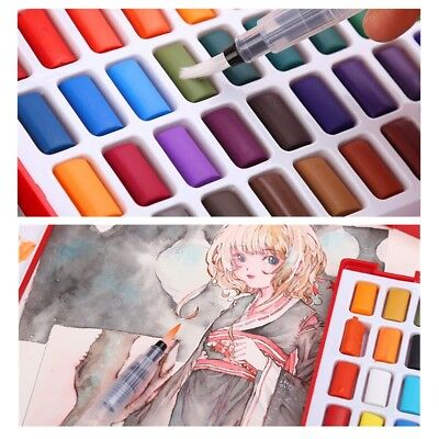 AU 24/36/48 Water Colors Solid Watercolor Cakes Paints Set Drawing Painting Box