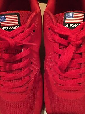 NIKE AIR MAX 90 HYP QS Size 9.5 RED Hyperfuse 4th of July Pack . 4c13e57bfd
