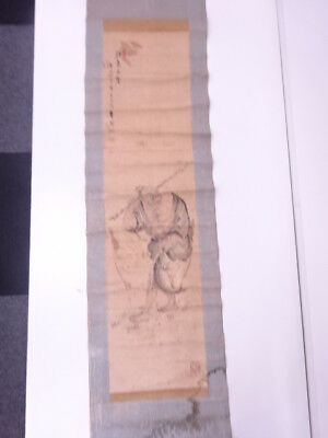 78969# Japanese Wall Hanging Scroll / Hand Painted / Fisherman