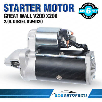 Starter Motor for Great Wall V200 X200 2.0L Diesel 4cyl GW4D20 2011-ON Steed
