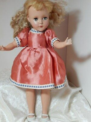 """Antique R&B Doll Composition Nancy Lee 13"""" With Green eyes & Clothes"""