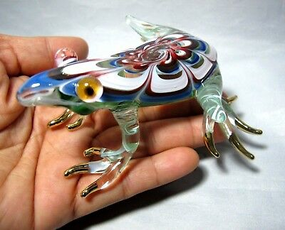 Lampwork Frog Hand Blown Color Glass Art Miniature Figurine Collectible # 03