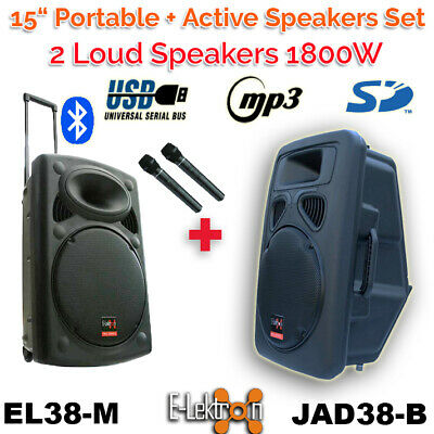 """2 X 15"""" inch Speakers 1800W Portable+Active Sound System Battery PA BT/USB/ Mic"""