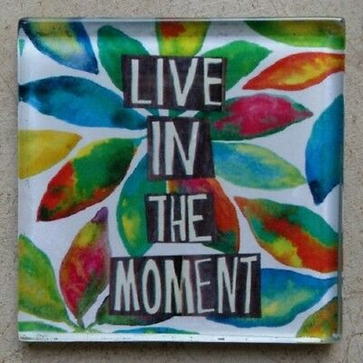 """GLASS MOSAIC TILE - Mosaic Insert - """"LIVE IN THE MOMENT"""" - Art & Craft Supplies"""