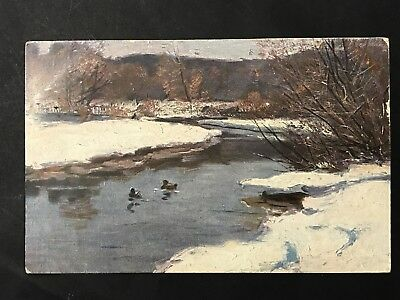 Antique Art Postcard Painting Ducks on River, Warrnambool PM VIC One Penny Stamp
