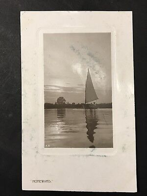 Antique Postcard HOMEWARD Sailing Boat Rotary Photographic 1906 VIC Penny Stamp