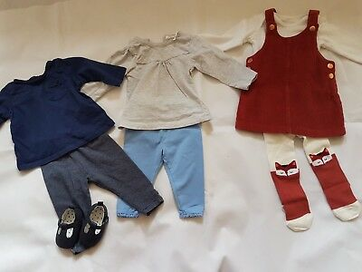 Baby Girl Clothes Bundle Full Outfits 3-6 Months Shoes Tops Leggings Dungaree