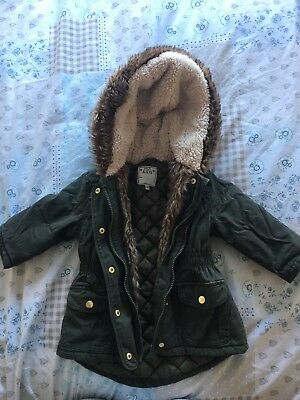 M&S Girls Parka Coat 1-1.5yrs / 12-18 Months