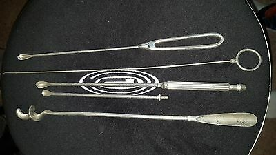 Antique Vintage Surgical Instruments 3 Piece Suction Curette Ring Like Drill
