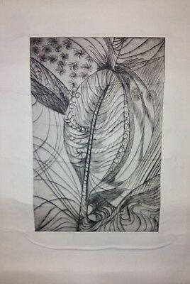 Original Artwork by LSL 1990s  Etching -Leaf - Abstract