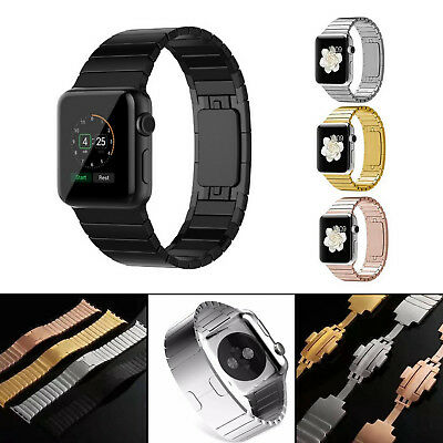 Butterfly Buckle Link Bracelet Stainless Steel Band For Apple Watch iWatch 3 2 1